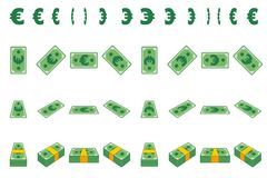 Animation money paper Euro step by step. Cartoon wad of cash in different positions isolated on separate layers. Flat. Design. Vector Game element royalty free illustration