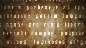 Animation - Moving script grunge BG. A collection of scripts moving in different directions. Latin text from Ovid`s Metamorphoses. Grunge background version stock video footage