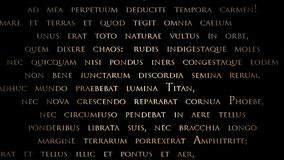 Animation - Moving script simple. A collection of scripts moving in different directions. Latin text from Ovid`s Metamorphoses. Simple text-only version stock video footage