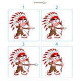 Animation of native boy in 4 frames with bow and arrow Royalty Free Stock Photos