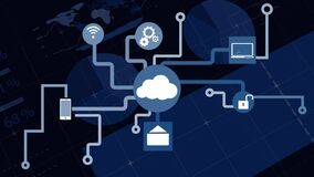 Animation of network of connections cloud computing