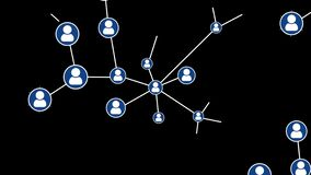 Animation of network of connections with people icons, Users Connected Network Technology.