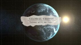 Animation of newspaper headlines over a globe spinning