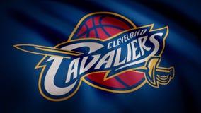 Animation ondulant dans le drapeau de vent du club Cleveland Cavaliers de basket-ball Utilisation éditoriale seulement illustration de vecteur