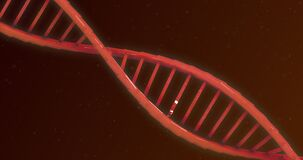 Animation of DNA structure against red background