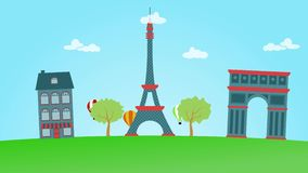 Animation of Paris. Eiffel tower, triumph arch and air baloons. 4K 3840x2160 stock video