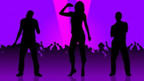 Animation of people silhouettes singing. Animation of two men and a woman silhouettes singing in front of the crowd stock footage