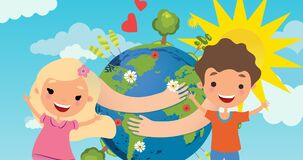 Animation of pictogram of boy and girl over planet earth with arms around and sun on blue background