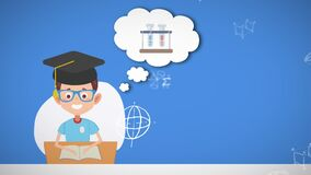 Animation of pictogram of schoolboy and mathematical equations moving on blue background