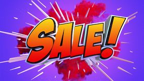 Pop art sale explosion. An animation in pop art style, colorful explosion and the word Sale in cartoon text stock video