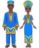 Animation portrait of the African family in ethnic clothes. Full growth. The vector illustration isolated on a white background Royalty Free Stock Photos