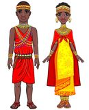 Animation portrait of the African family in ethnic clothes. Royalty Free Stock Images