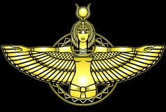 Animation portrait of the ancient Egyptian goddess. Animation portrait of the ancient Egyptian winged goddess. Yellow drawing isolated on a black background royalty free illustration