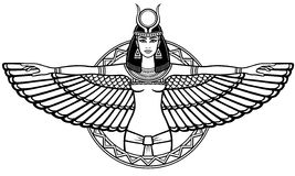 Animation portrait of the ancient Egyptian winged goddess. The linear drawing isolated on a white background. Vector illustration, be used for coloring book Stock Photography