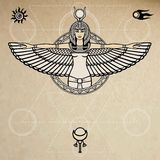 Animation portrait of the ancient Egyptian winged goddess.  Space symbols. Sacred geometry. Vector illustration. Stock Photography