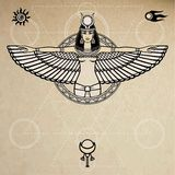 Animation portrait of the ancient Egyptian winged goddess.  Space symbols. Sacred geometry. Vector illustration. Royalty Free Stock Photography