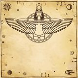 Animation portrait of the ancient Egyptian winged goddess.  Space symbols. Vector illustration. Stock Photo