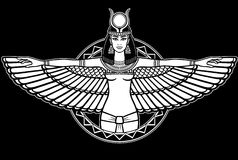 Animation portrait of the ancient Egyptian winged goddess. Stock Photo