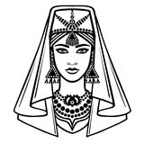 Animation portrait of the Arab girl in ancient dress. Royalty Free Stock Image