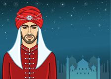 Animation portrait of the Arab man in a turban. stock illustration