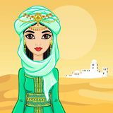 Animation portrait of the Arab woman in ancient clothes. vector illustration
