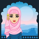 Animation portrait of the Arab woman in traditional clothes. Animation portrait of the young Arab girl in traditional clothes. A background - a palace window royalty free illustration