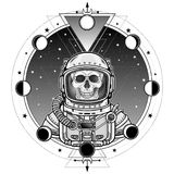Animation portrait of the astronaut skeleton  in a space suit. Background - the star sky, phases of the moon. Sacred geometry. Vector illustration isolated Royalty Free Stock Image