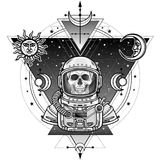 Animation portrait of the astronaut skeleton  in a space suit. Background - the star sky, symbols of the moon and sun. Sacred geometry. Vector illustration Royalty Free Stock Photography