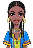 Animation portrait of the attractive African girl. Bright ethnic clothes. Royalty Free Stock Images