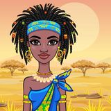 Animation portrait of the attractive African girl. Bright ethnic clothes.  Stock Photo