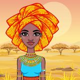 Animation portrait of the attractive African girl in a turban.   Stock Photography