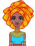Animation portrait of the attractive African girl in a turban. Bright ethnic clothes. Stock Photos