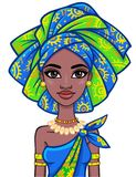Animation portrait of the attractive African girl in a turban. Bright ethnic clothes. Stock Image