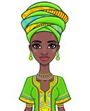 Animation portrait of the attractive African girl. Stock Photography