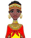 Animation portrait of the attractive African girl. Stock Image