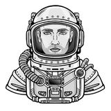 Animation portrait of the attractive man astronaut in a space suit. Vector illustration isolated on a white background. Print, poster, t-shirt, card Royalty Free Stock Photo
