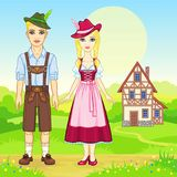 Animation portrait of the Bavarian family in ancient traditional clothes. Background - a summer landscape, the old house. Fairy tale character, card, poster Royalty Free Stock Photography