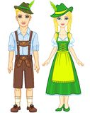 Animation portrait of the Bavarian family ancient traditional clothes. Royalty Free Stock Image
