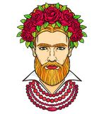 Animation portrait of the bearded man in beads and a wreath of roses. Mix men`s and feminine. Royalty Free Stock Images