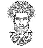 Animation portrait of the bearded man  in beads and a wreath of roses. Stock Photo
