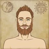 Animation portrait bearded man. Stock Image