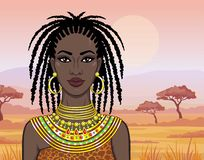 Animation portrait of the beautiful African girl in ancient clothes. Savanna princess. Background - a desert landscape. Vector illustration stock illustration