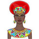 Animation portrait of the beautiful African woman in ancient clothes and jewelry. Color drawing. Vector illustration isolated on a white background. Print vector illustration