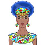 Animation portrait of the beautiful African woman in ancient clothes and jewelry. Color drawing. Vector illustration isolated on a white background. Print royalty free illustration