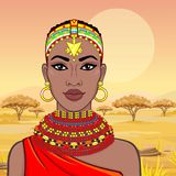 Animation portrait of the beautiful African woman in ancient clothes and jewelry. Hunter, nomad, fairy tale goddess. Color drawing. Background - a landscape stock illustration