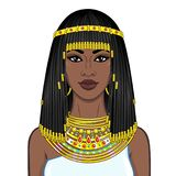 Animation portrait of the beautiful African woman in ancient jewelry and Afro-hair. Princess, pagan goddess, Pharaoh. Color drawing. Vector illustration stock illustration
