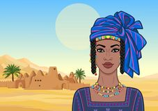 Animation portrait of the beautiful African woman in a turban and ancient clothes. royalty free illustration