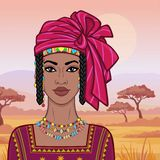 Animation portrait of the beautiful African woman in a turban and ancient clothes. vector illustration
