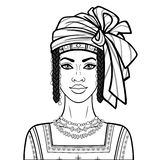 Animation portrait of the beautiful African woman in a turban, ancient clothes and jewelry. Monochrome drawing. Vector illustration isolated on a white royalty free illustration