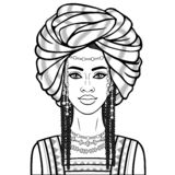 Animation portrait of the beautiful African woman in a turban, ancient clothes and jewelry. Monochrome drawing. Vector illustration isolated on a white stock illustration